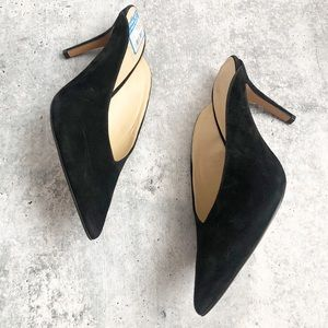 New Vince Camuto Black Suede Slip On Mules